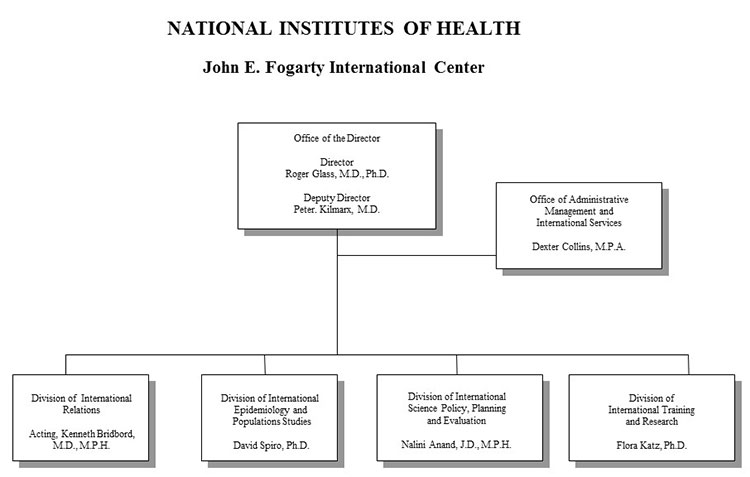 Organization chart for Fogarty International Center for fiscal year 2019, full text description immediately follows