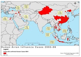 world map of human avian influenza cases 2003-2006 indicated in red for each country