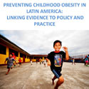 Portion of poster on Prevention of Childhood Obesity meeting with image of young boy running outside