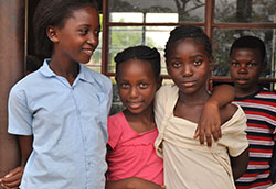 Group of children at school in Zambia.