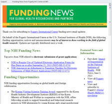 Screen capture sample of Fogarty Funding News email, text too small to read, lists many funding opportunities