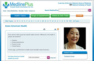 Screen capture of MedlinePlus Asian American Health portal