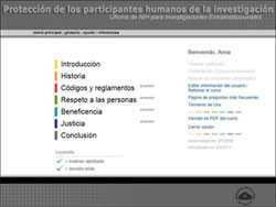 Screen capture of NIH bioethics training course in Spanish