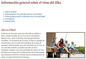 Screen capture of Zika information on NIH Spanish health information portal salud.nih.gov