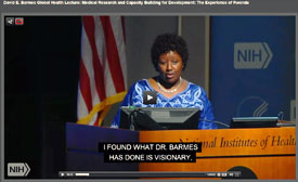 Screen capture of Agnes Binagwaho speaking at a podium