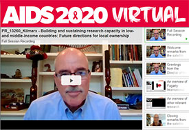 Screen capture AIDS 2020 virtual conference session on building HIV research capacity in LMICs, organized by Fogarty.