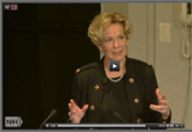Screen capture of Ambassador-at-Large Dr Deborah Birx speaking at a podium at NIH