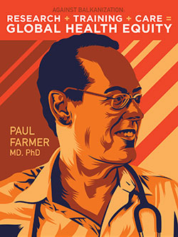 Poster for November 2016 Barmes lecture, shows drawing of Paul Farmer MD PhD, stethoscope around neck
