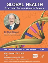 Poster for January 2013 Barmes Lecture featuring Sir Mark Walport
