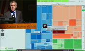 Screen capture of data visualization with inset of Dr Chris Murray speaking at a podium
