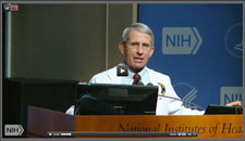NIAID Director Dr Anthony Fauci speaks at a podium