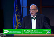 Screen capture of webcast of Fogarty Director Dr Roger Glass welcoming attendees to the Fogarty 50th Anniversary Symposium