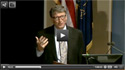 Webcast screenshot of Bill Gates speaking at a podium