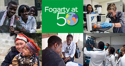 Collage of 6 images from the top global health research stories of 2018. Credits below. Descriptions from top left: Adolescents in Haiti, Fogarty at 50 mark, research training in lab, research training in clinic, collecting data from study participant, mother and baby.