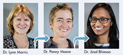 Dr Lynn Morris headshot, arrow points to her mentee Dr Penny Moore headshot, arrow points her trainee Dr Jinal Bhiman headshot