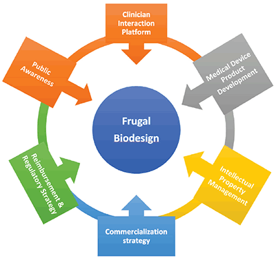 Frugal Biodesign Approach Stages flow chart. Full description immediately follows.