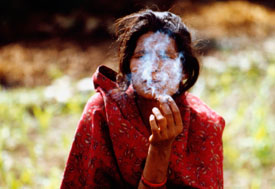 Woman smokes cigarette, smoke covers her face, field in background
