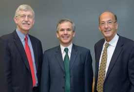 Dr. Francis S. Collins, Dr. Christopher Murray and Dr. Roger I. Glass pose for the camera