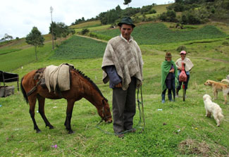 In lush green mountains of Colombia, a man looks at the camera holding the reigns of a horse, women and dogs in the background