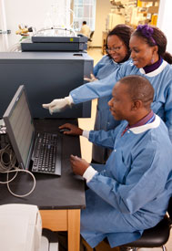 Male medical worker in blue lab coat seated in front of computer, two women standing behind look over his shoulder