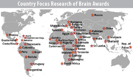 World map with indicators for countries that have been the focus of Fogarty global brain disorders program research