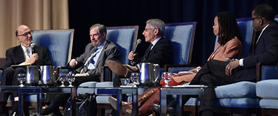 Fogarty Director Roger Glass moderates panel of NIH leaders (Doug Lowy, Tony Fauci, Pamela Collins, Gary Gibbons) at CUGH