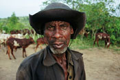 Older man in rugged clothes looks into camera, herd of cattle grazes in the background