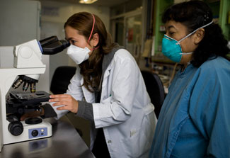 Female researcher in lab coat and surgical mask looks into microscope, female close at hand also in mask observes