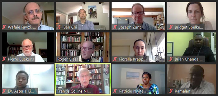 Screen capture of tiled view of participants during 2020 virtual Fogarty Fellows and Scholars orientation, Francis Collins's window highlighted while he speaks.