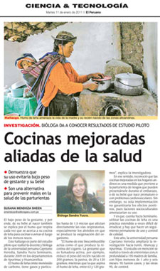 Scan of newspaper article cocinas mejoradas aliadas de la salud, photo of woman cooking on elemental stove with child in sling