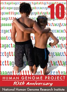 Two boys with backs to camera, arms around each other, look at strings of colored genetic code, Human Genome Project 10th Anniv.