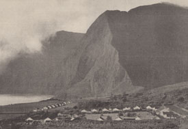 Black and white photo of leprosy colony on island of Molokai, Hawaii, high mountains next to sea, many dwellings grouped togethe