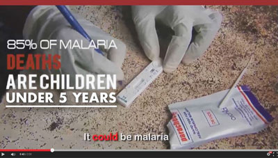 Screen capture of malaria rap video, text overlay reads 85% of malaria deaths are children under 5 years