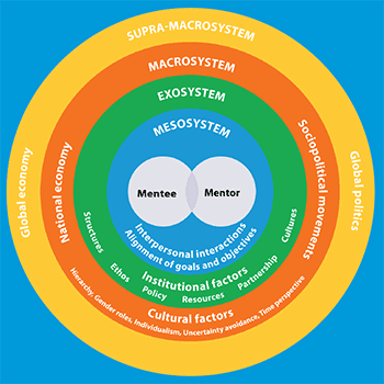 Concentric circles visualize framework for mentorship. Full description at #visualizationdescription.