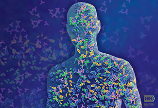 Illustration of an outline of a human covered with colorful bacteria making up the microbiome.