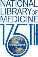 Logo: National Library of Medicine 175th, image of earth with text 1836-2011