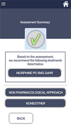 Screenshot of pain treatment guidelines mobile app shows assessment summary with a green check mark.