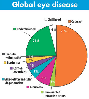 Pie chart of percentages of global eye diseases, full data and follows