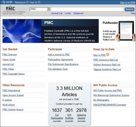 Screen capture of NLM PubMed Central