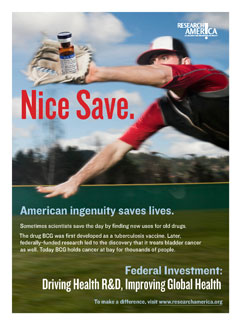 Baseball player dives, catching a bottle of medicine in his glove. Ad reads, Nice Save. Federal investment: Driving Health R&D..