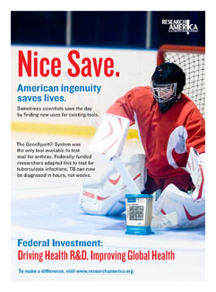 Hockey goalie blocks a research test kit. Ad reads, Nice Save. Federal investment: Driving Health R&D, Improving Global Health