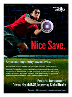 Soccer goalie dives to catch a temperature gauge. Ad reads, Nice Save. Federal investment: Driving Health R&D...