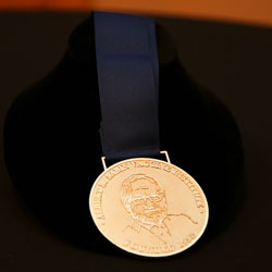 A close up of the Sabin Gold Medal