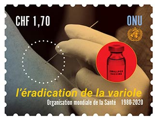Image of stamp commemorating the 40th anniversary of smallpox eradication.