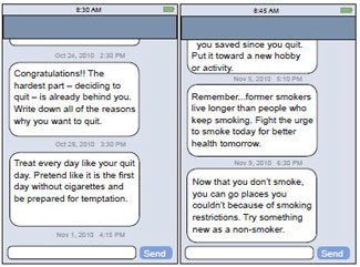 Two screen captures of a mobile device showing supportive and encouraging text messages directed to someone quitting smoking