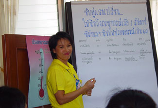 Smiling facilitator at the front of a classroom stands in front of easel pad covered with Thai writing