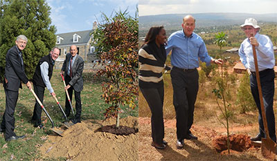 Left: Francis Collins, Paul Farmer and Roger glass hold shovels preparing to plant a tree on the NIH campus. Right: A woman stands next to Roger Glass and Paul Farmer as they prepare to plant a tree in Rwanda.
