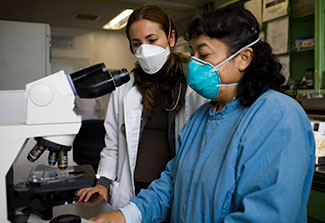 Two female researchers in surgical masks in lab work with microscope