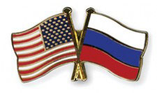 Close up of lapel pen with U.S. and Russian flags