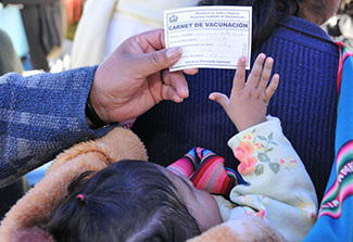 Close up of adult holding completed vaccination card, labeled carnet de vacunacion, above young child.